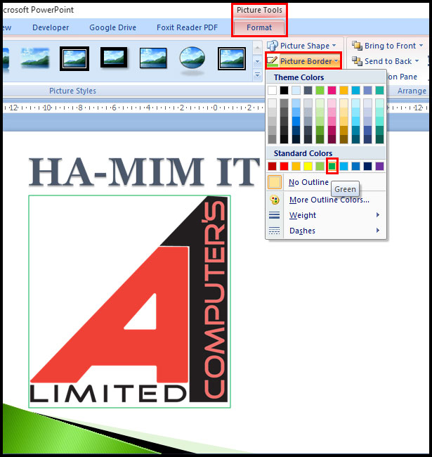 Add a border to a picture in PowerPoint 2007