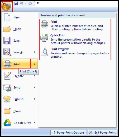 Printing in PowerPoint 2007