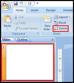 Delete slide in PowerPoint 2007
