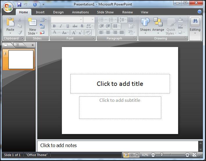 Black window in PowerPoint 2007