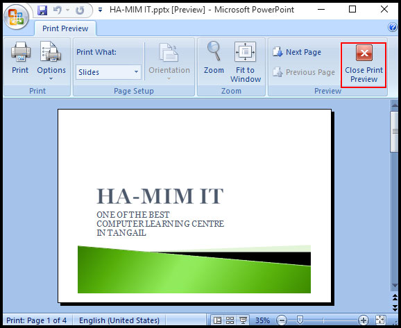 Use Print Preview in PowerPoint 2007