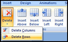 Delete Table Row in PowerPoint 2007