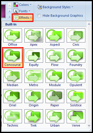 Switch to different theme effect in PowerPoint 2007