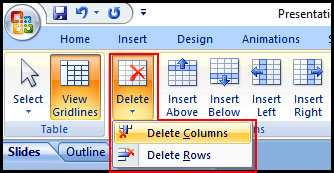 Delete Table Column in PowerPoint 2007