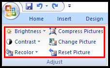 Other format picture tools in PowerPoint 2007