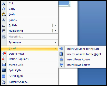 Another Method for insert or delete row and column in PowerPoint 2007