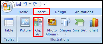 Insert ClipArt from Ribbon in PowerPoint 2007
