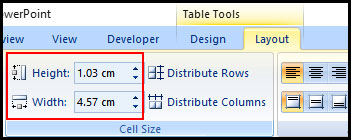 Change Table Cell size in PowerPoint 2007
