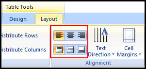 Change Table Text Alignment in PowerPoint 2007