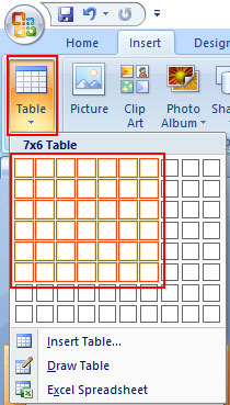 Insert Table Using Ribbon Command in PowerPoint 2007