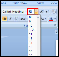 Formatting font size in PowerPoint 2007
