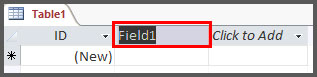 Show Field Header for new field in Access 2016