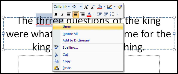 Spell check with mouse right click in PowerPoint 2007