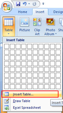 Insert Table another method in PowerPoint 2007
