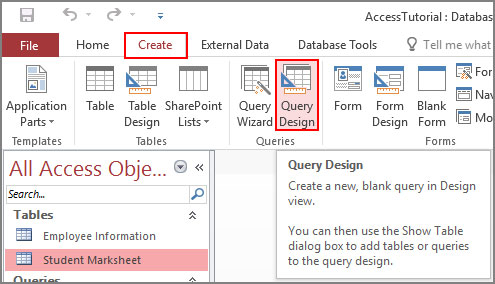 Create Query with Query Design