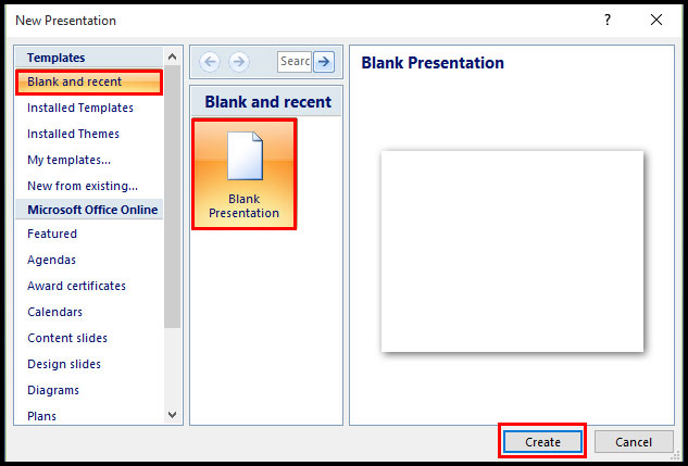 Create a New Presentation in PowerPoint 2007