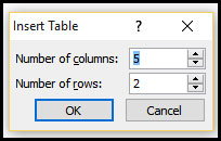 Define Row and Column for table in PowerPoint 2007