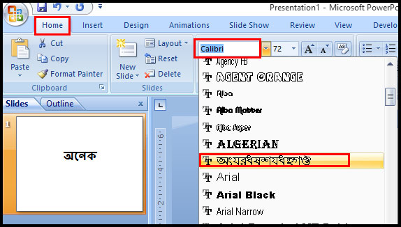 Formatting Font Style in PowerPoint 2007