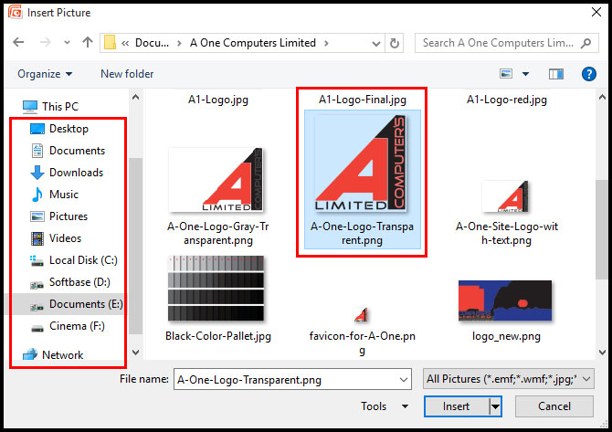 Select Picture Location in PowerPoint 2007