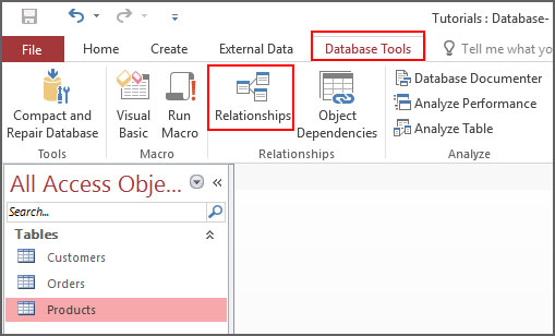 Select Relationship from database tools