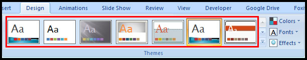 Apply a Theme in PowerPoint 2007