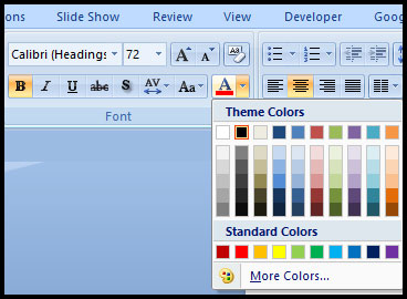 Change Font Color in PowerPoint 2007