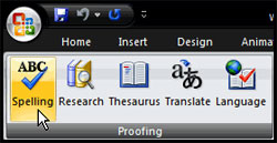 Spell check entire presentation in PowerPoint 2007