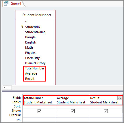 Add Field in Query Design Grid in Access 2016