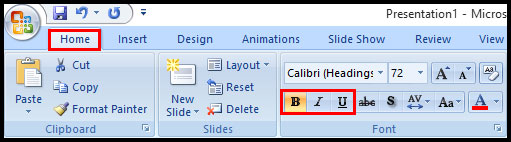 Bold Italic Underline in PowerPoint 2007
