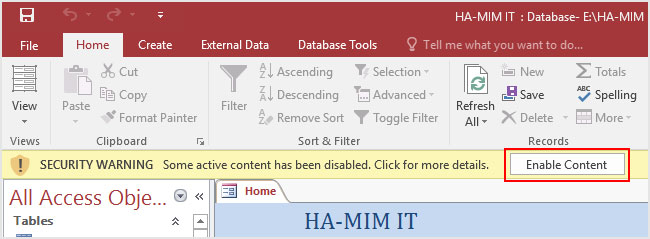 How to open Access 2016 Database