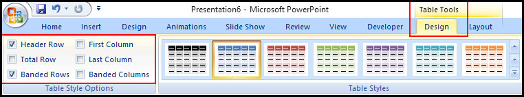 Option of the design tab in PowerPoint 2007