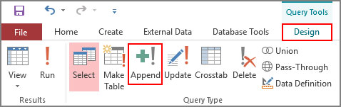 Select-Append-Query-from