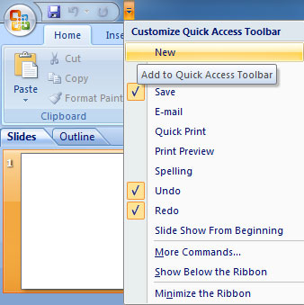 Add Command in Quick Access Toolbar in PowerPoint 2007