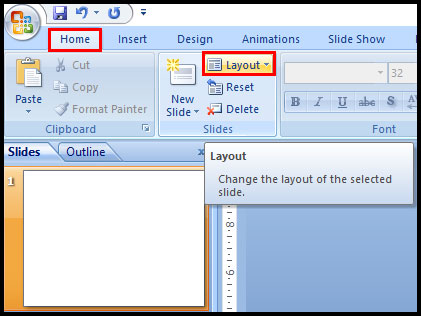 Change the layout of an existing slide in PowerPoint 2007