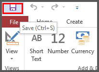 Save Table from quick access toolbar in Access 2016