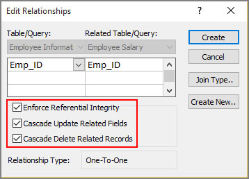 Select create from edit relationship dialogbox