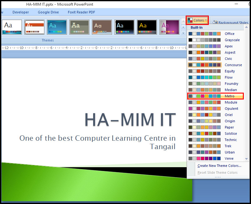 Switch to different theme color in PowerPoint 2007