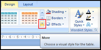 More Table Style in PowerPoint 2007