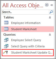Run Update Query from Navigation Pane in Access 2016