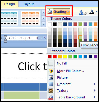 Change Table Shading in PowerPoint 2007