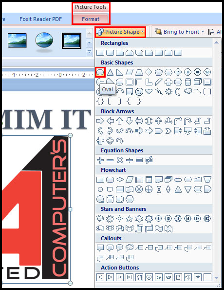 Change shape of picture in PowerPoint 2007