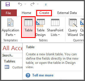 Create Table from Create Tab in Access 2016