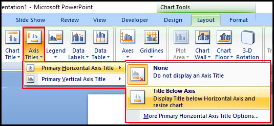 Axis title in PowerPoint 2007