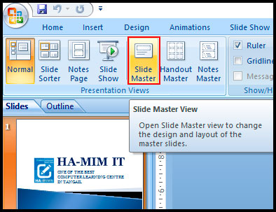 Introduction of using master slide in PowerPoint 2007