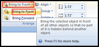 Arrange Object Bring to Front in PowerPoint 2007