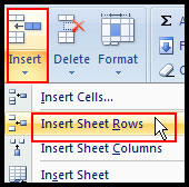 Insert Row in Excel 2007