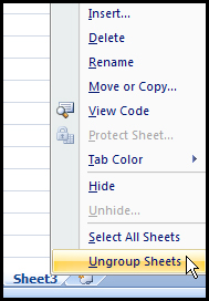Ungroup worksheet in Excel 2007