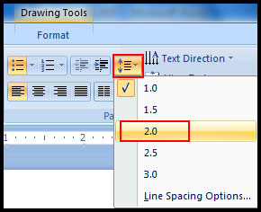 Change line spacing using default option in PowerPoint 2007