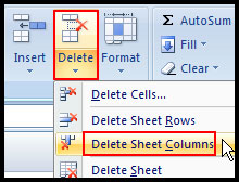 Delete selected columns in Excel 2007