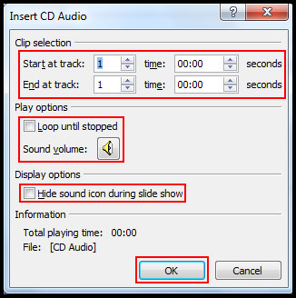 Insert CD Audion option in PowerPoint 2007